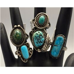 5 Vintage Turquoise Rings