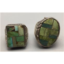 Pair of Turquoise Inlay Rings