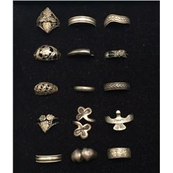 Group of 15 Sterling Fashion Rings
