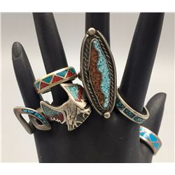 Group of 6 Vintage Inlay Rings