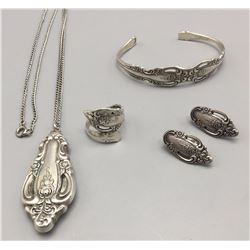 Old Sterling Spoon Jewelry Set