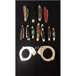 Group of 11 Pocket Knives and Handcuffs