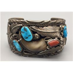 Vintage Turquoise, Coral and Bear Claw Bracelet