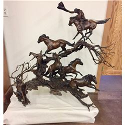 Indian Horse Capture, Large Bronze - Rattey