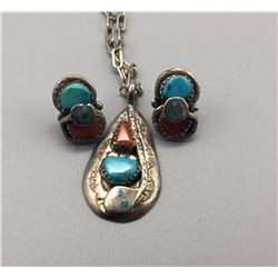 Effie C. Turquoise, Coral & Sterling Necklace & Earring Set