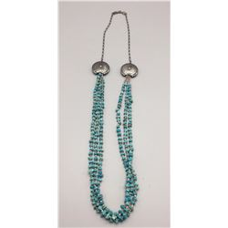 Multi-strand Turquoise, Heishi, Sterling Necklace