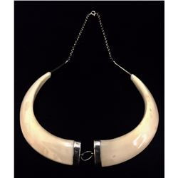 Antique Ivory and Sterling Necklace