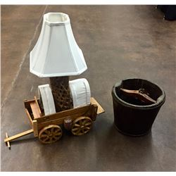Antique Bucket and Folk Art Lamp