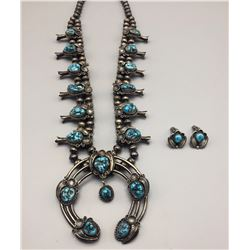 Vtg. Squash Blossom Necklace and Earrings