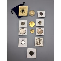 Group of Old Trade Tokens and Commemorative Coins