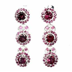 Natural Raspberry Rhodolite Garnet Ruby Earrings
