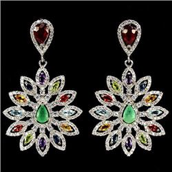 Natural Ruby Emerald Sapphire & Multi Gem Earrings