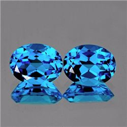 Natural Swiss Blue Topaz Pair 8x6 MM - Flawless
