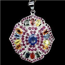 Natural Blue & Fancy Sapphire Ruby 57 Ct Pendant