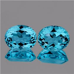 Natutal  Intense Sky Blue Topaz Pair 12 x 10 MM - VVS
