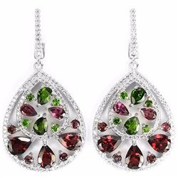 NATURAL RHODOLITE GARNET, CHROME DIOPSIDE Earrings