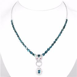 Natural Stunning London Blue Topaz Necklace