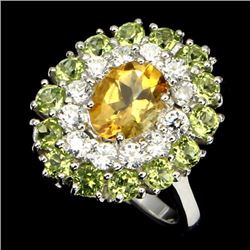 Natural Citrine Peridot 25 Carats Ring