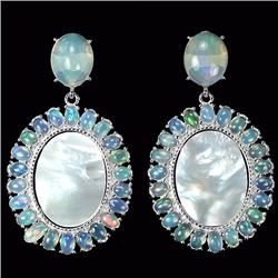 Natural Opal & Mother of Pearl Earrings