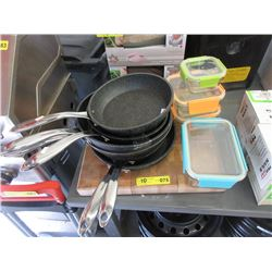 Cutting Board, 6 Fry Pans & 4 Sealer Containers