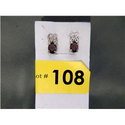 New 2.8 CTW Garnet & Diamond Stud Earrings