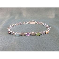 Multi Gemstone & Diamond Tennis Bracelet