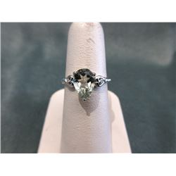 Custom Made Green Amethyst & Diamond Ring