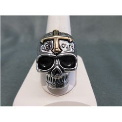 Lord's Prayer Gold Cross Skull Biker Ring