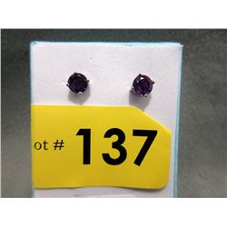 New 2 CT Amethyst Stud Earrings