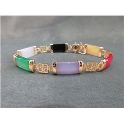 Multi Coloured Jade Bracelet