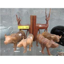 Carved Wood Bookend & 4 Muskox Figurines