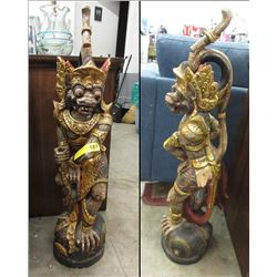 "35"" Carved Wood Indonesian Statue"