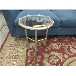 New Glass Top Metal End Table