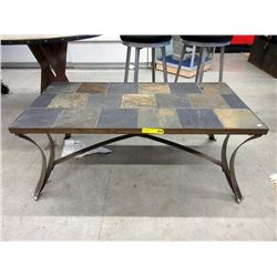 Stone Top Coffee Table with Metal Base