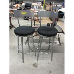 Pair of New Swivel Bar Stools with Metal Frames