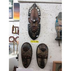 3 Carved Wood Wall Masks