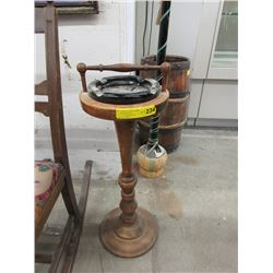 Vintage Wood Ashtray Stand with Glass Ashtray