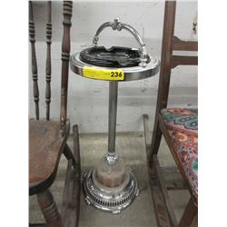 Vintage Metal Ashtray Stand with Glass Ashtray