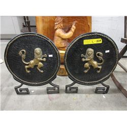 Pair of 2D Wrought Iron Decorations on Stands