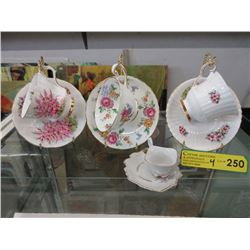 3 Bone China Teacups & a Demitasse