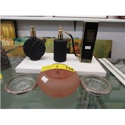 Perfume, Atomizers & Satin Glass Vase with Frog