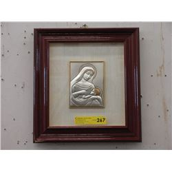 Framed Sterling Silver Madonna & Child