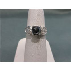 .90 CT Heart-Cut Natural Black Diamond Ring