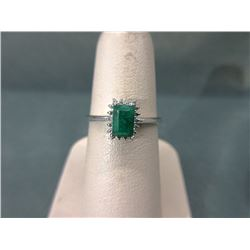 Emerald & Diamond Sterling Silver Ring