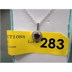 Garnet & Diamond Sterling Silver Necklace