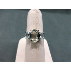 Green Amethyst & Blue Topaz Trinity Ring
