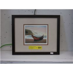 Framed Art Card of a First Nations Canoe