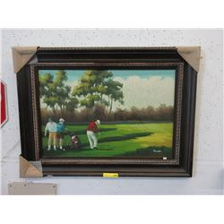 Signed Oil on Canvas Painting of Golfers