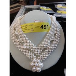 2 New Woven Pearl Necklaces