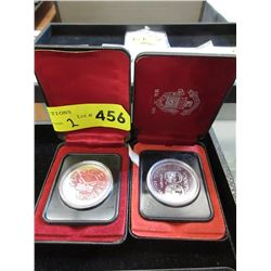 2 Canadian 50% Silver Proof Dollar Coins in Boxes